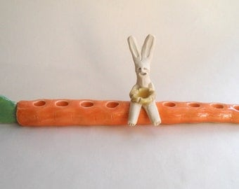 Rabbit on Carrot Menorah - Channukah, Hanukkah