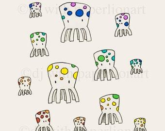 Octopus Rainbow Print 12x12