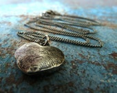 Fingerprint Heart Necklace. Personalized Fingerprint Jewelry. Fine Silver Keepsake Heart Necklace.