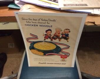 1953 Campbell 's Soup ad Patriotic 1776 chicken noodle