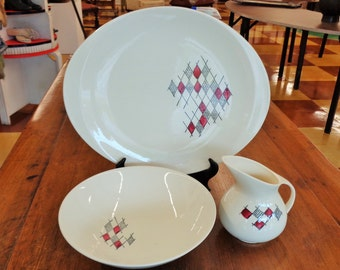 3 pc Vintage 1950's Blue Ridge Southern Pottery Platter Bowl and Creamer Midcentury Modern Design