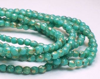 Czech Glass Turquoise Fire Polished Beads Silver Picasso 100 pcs 3mm/168