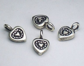 Fine Silver Heart Charms Karen Hill Tribe Thai Silver  4 pcs. HT-203