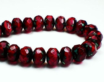 Ruby Red Picasso Czech Glass Beads Faceted Rondelle 6mm x 8mm Green Finish 10 pcs. RON8-681