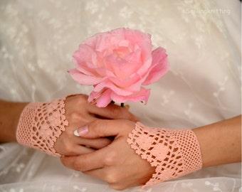 Wedding Lace Bridal Gloves, Crochet Bridal Gloves, Bridal Cuffs, Blush Pink, Pastel Gloves, Lace Gloves, Bridesmaids Gifts, teamt
