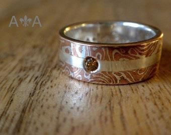 Mokume Gane Wedding Band - Made To Order - Mokume Gane Wedding Ring ( MK-Split w/Stone )