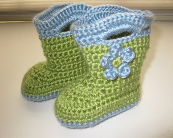 Crochet Garden Boots for Baby, Newborn size, baby boots, Baby Galoshes, Baby Slippers, Crochet booties, custom order, rain boots