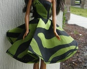 Green and Black Swirl Barbie Doll Dress!