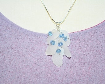 Clustered Sea Glass Beach Necklace in White with Lavender Blue Crystals 3706c
