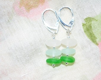Sea Glass Jewelry Earrings Stacked in Green, Seafoam and White Sterling Silver 9905C