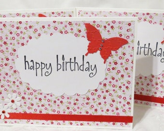 Birthday Cards Handmade White and Red Set of Three with Bling Flowers and Butterflies