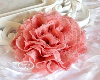 1 pc Large Shabby Chic Frayed Chiffon Mesh and Lace Rose Fabric Flower - DEEP Salmon / Rosewood