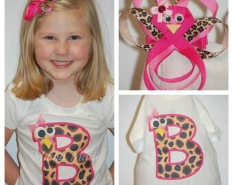 Leopard Print Turkey Initial Shirt Thanksgiving Shirt w/ turkey hairclip,girls thanksgiving shirt and bow, girls thanksgiving turkey shirt