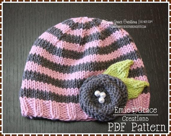 Knitting Pattern For Beanie With Flower : Knitting Flower Hat Pattern Stripe Beanie JOLIE pdf 801