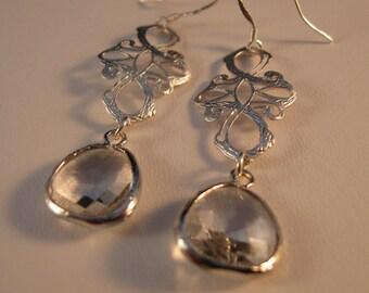 Silver Bezel Earrings, silver earrings, filigree earrings, cross earrings, drop earrings, dangle, crystal earrings, bezel earrings, earrings