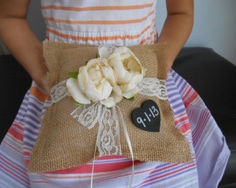 Rustic Small Ring Bearer Burlap Pillow Personalized Chalkboard or WoodTag You Customize Flowers and colors