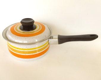 Vintage 1970's Mod Orange & Yellow Enamelware Boiling Cooking Sauce Pan