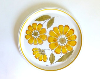 "Vintage 1970's MIKASA Light 'n Lively Happy 05352 12.5"" Serving Platter with Flowers"