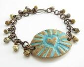 Radiant Heart Bracelet Artisan Stoneware Rustic Turquoise Copper Bracelet Handmade Artisan Jewelry Earthy Bracelet