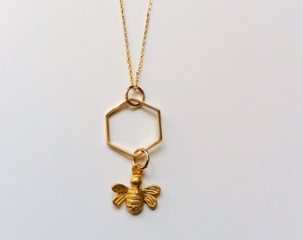 Honey Bee Necklace, Gold, Honey comb, Bee Necklace, On Sale