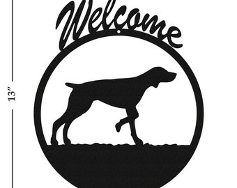 Dog German Short Hair Black Metal Welcome Sign
