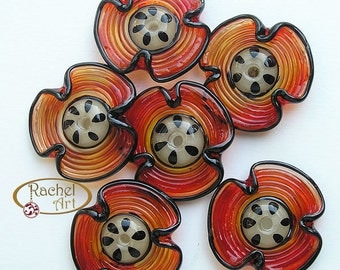 Lampwork Flowers Glass Beads, FREE SHIPPING, Set of Handmade Strike Red Lampwork Glass Disc Beads