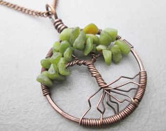 South China Jade Copper, Oxidized Copper, Brass or Sterling Tree of Life Pendant Gift Boxed