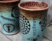 MADE TO ORDER Imagine Earth Friendly Ceramic Tumbler with Crop Circles Sacred Geometry Reiki in Blue Brown Pink Brown Henna Doodle Dragonfly