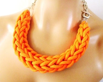 Knitted Rope Necklace, Woven Necklace, Statement Necklace in Neon Orange Fluo Orange, Party Bling