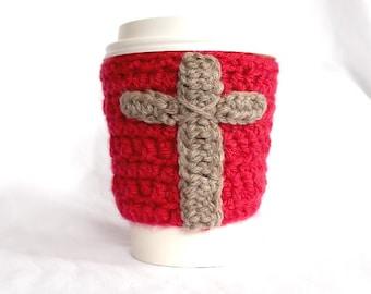Tan cross travel mug cup cozy coffee cherry red crochet