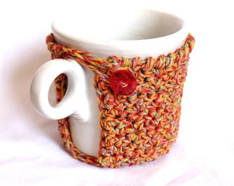 Mug Cozy, Cup Cosy and Coaster Crochet Multi orange, pink and green with Vintage Button