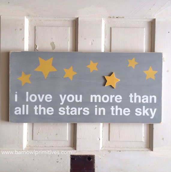 I Love You More Than All The Stars In The Sky Typography Word Art Wooden Painted Nursery Sign Decor