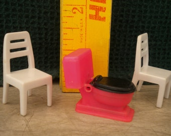 Vintage Miniature Dollhouse Furniture Pieces Pink Toilet and Two Tiny Chairs