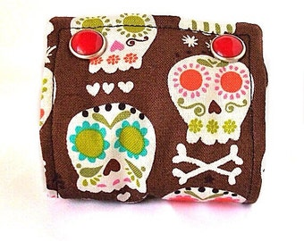 Sugar Skulls Wide Wrist Cuff Bracelet Adjustable Fabric Band