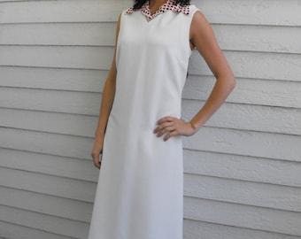Mod White Dress Sleeveless 60s Polka Dot Collar Red Blue XL Plus Vintage