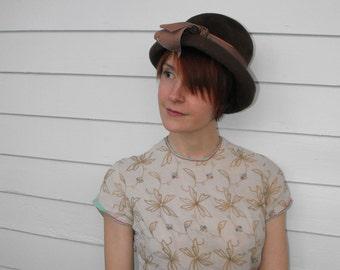 Vintage Brown Hat Casual Cute Velour