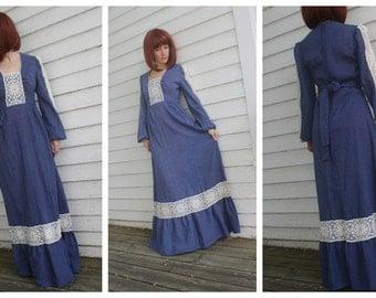 Blue Prairie Dress Maxi Lace 70s Vintage Gunne Style Long S