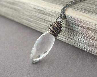 Quartz Wrapped Necklace, Crystal Quartz Oxidized Sterling Necklace