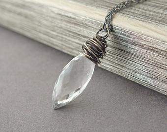 Crystal Quartz Necklace, Quartz Necklace, Crystal Quartz Oxidized Sterling Necklace, Oxidized Quartz Necklace, Crystal Necklace, Boho