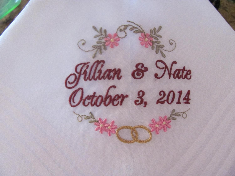 Wedding Handkerchiefs Set Of 2 Embroidered Wedding Gift