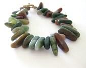 Fancy Jasper Bracelet, butterfly bracelet, stone jewelry, jasper jewelry, green bracelet, nugget bracelet, stone bracelet, jasper bracelet