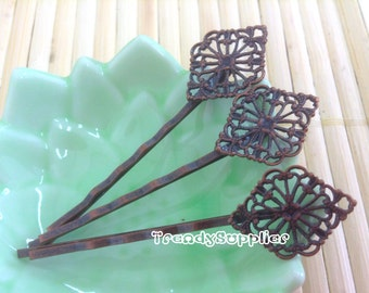 10 Pcs Antique Copper Bobby Pin with 15x21mm Diamond Filigree, Nickel Free (HF001)