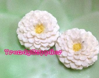 6 pcs Little Round Chrysanthemum Cabochon, White (S007/Y)