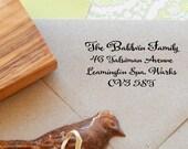 Timeless Handwritten Font Return Address Olive Wood Stamp