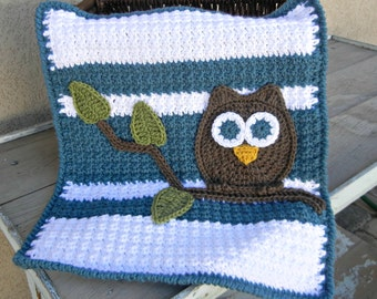 Owl Baby Blanket Lovey Size Boy Baby Shower Gift Blue White