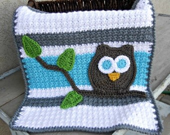 Owl Baby Blanket Lovey Size Grey Aqua Baby Shower Gift Gender Neutral