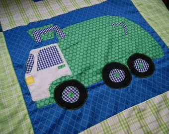 Garbage Truck Minky Blanket, Garbage Truck Bedding, Twin Size Quilt with Your Choice of Colors to Match any Decor, 60 x 90