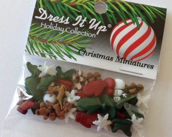 BACK IN STOCK Dress it up Christmas Miniatures  - 30 tiny buttons snowflakes, mittens, reindeer, stockings, snowmen, gingerbread men