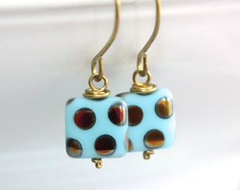 Blue Glass Earrings - 'Clown Act'