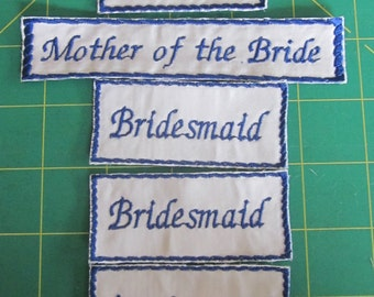 Bridesmaid Labels for dress or purse - a Custom Embroidered label with  NAME on Satin - Sewn inside your Bridesmaid Dress or purse